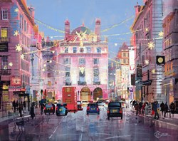 Winter Sparkle, Piccadilly by Tom Butler - Original Collage on Board sized 30x24 inches. Available from Whitewall Galleries